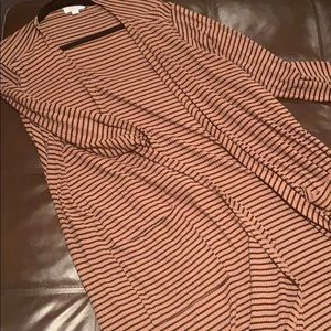 Brown with black Stripe LuLaRoe Sarah cardigan